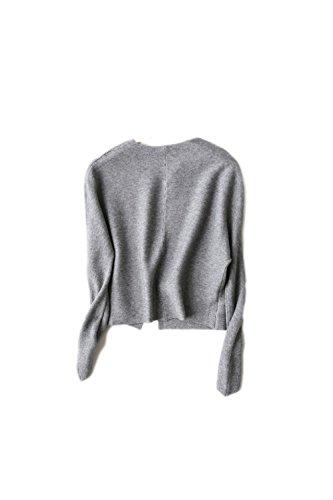 Sciolto aperto anteriore manica lunga Cardigan corto Yacun femminile Grey