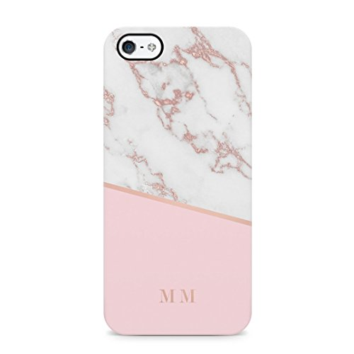 Personalised rose gold marble initials custom letters custodia protettiva in plastica rigida cover per iphone 5 / iphone 5s / iphone se case