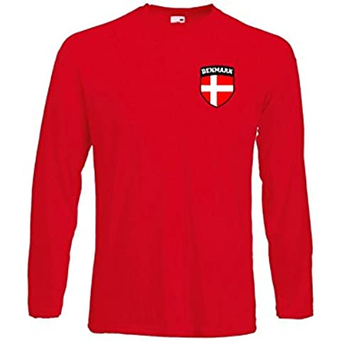 Dinamarca Danmark Danish Dane Manga Larga Equipo De Fútbol Juvenil Camiseta - Disponible - 3/4 Años