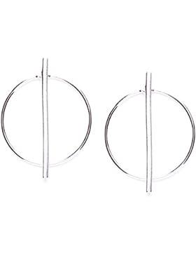 Happiness Boutique Damen Creolen Silber | Große Creolen Sterlingsilber Ohrringe Geometrisches Design nickelfrei