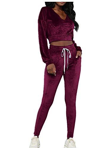 wenyujh Damen Bekleidungsset Sport Freizeit Pullover Hose Set Frühling 2 Teilig Samt Bauchweg Jacke Freizeithose Einfarbig (L, Weinrot-1)