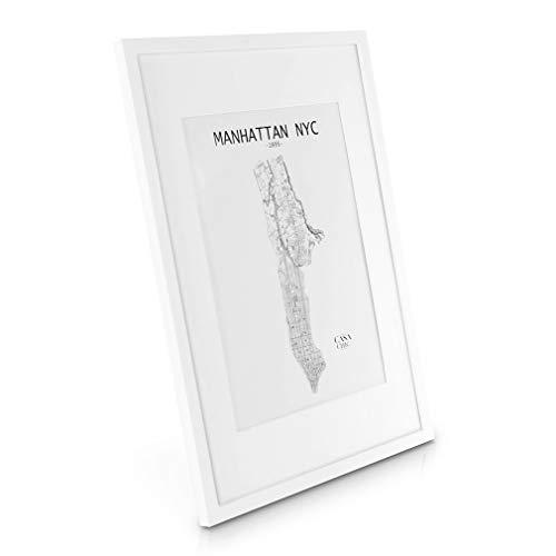 - Echtholz Bilderrahmen A2 - Weiß - mit DIN A3 Passepartout - Plexiglasscheibe - Rahmenbreite 2cm ()