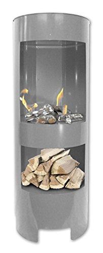 Preisvergleich Produktbild BBT@ Metall Gelkamin Säule / 1 Meter hoch / Grau / Mit extra Holzfach / Breite: 37cm / Höhe: 100 cm / Tiefe: 35 cm / Heizleistung ca 3,5 Kw / Pulverbeschichtetes Metall / Inkl 3 Brennstoffbehälter / Einfache Bedienung Sicherer Betrieb mit Brenngel oder Bioethanol Vormontiert Echtes Feuer Rauchfrei Keine Gerüche o. Dämpfe Kein Funkenflug