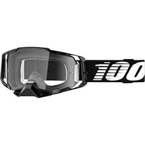 100% Armega Motocross MTB Brille schwarz weiss klare Scheibe