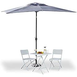 Relaxdays Parasol rectangulaire 200x300, Parasol inclinable à manivelles, Jardin, Parasol de balcon sans pied, gris