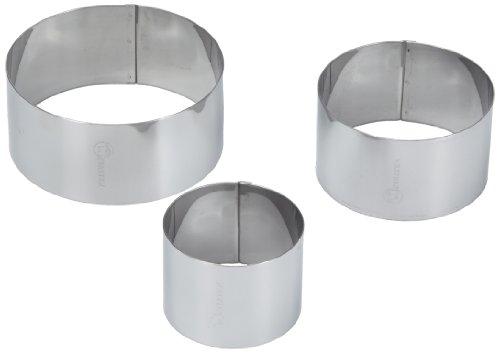 Metaltex 204536 - Juego de 3 aros para emplatar de acero inoxidable, 60/80/100 x 45 milímetros width=