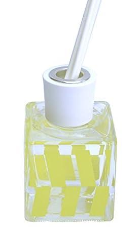 Room Diffuser with Yellow Geometric Design Glass Bottle - Lemon Grass Fragrance