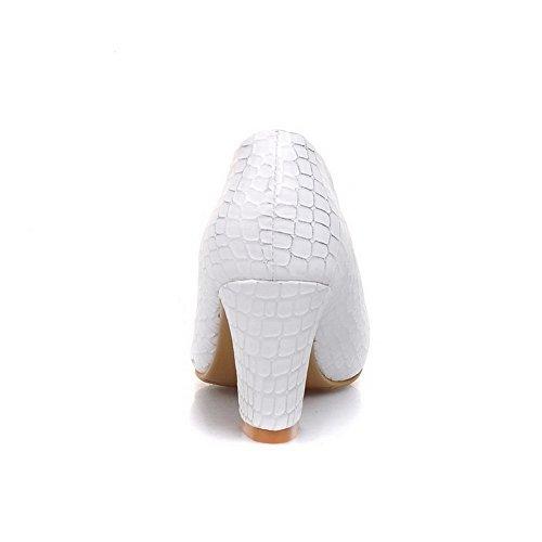 VogueZone009 Damen Gemischte Farbe Hoher Absatz Ziehen Auf Spitz Zehe Pumps Schuhe Weiß