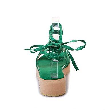 LvYuan Da donna-Sandali-Ufficio e lavoro Formale Casual-Altro-Piatto-Felpato-Nero Verde Arancione Tessuto almond Black