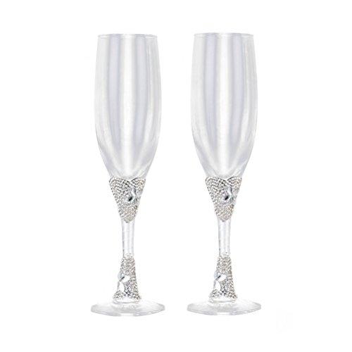 BESTOYARD 2pcs Hochzeit Becher Weingläser Champagner Flöten Toasten Gläser