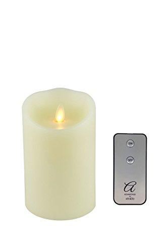 Vela Advantage con llama LED que imita el fuego y remota, tamaño pequeño, cera, crema, Small - 140mm (5'')
