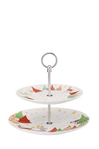 Hutschenreuther sammel série O de Chansons de Noël Sapin Présentoir à gâteaux 2 pièces/22-28 cm 2 pièces, Porcelaine, Multicolore, 28 x 28 x 5 cm
