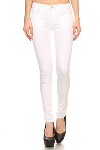 Vialumi Damen-Jeans, einfarbig, 5 Taschen, Stretch, Größen 0-13, Damen, weiß, 7 (Damen 13 Größe Jeans)