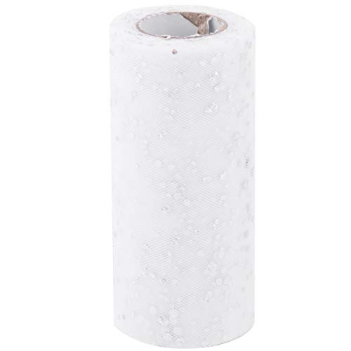 ZCHXD Polyester Family Wedding Clothes Decoration Tulle Spool Roll 6 Inch x 25 Yards White
