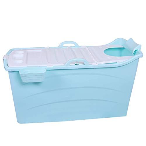 Faltbare Badewanne für Erwachsene/Kinder aus Kunststoff große Babyschwimmen tragbare/Nicht aufblasbare Badewanne/Wäschewanne (Farbe : Blau, größe : Large)