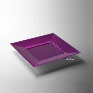 12 assiettes mariage jetables carrées plastique violet pourpre pailleté Or 18 cm - Adiserve -