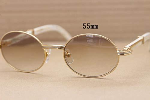 LKVNHP Oval Natural White Sonnenbrille Design Eyewear Mens Shade Für FahrenGold Braun 55Mm