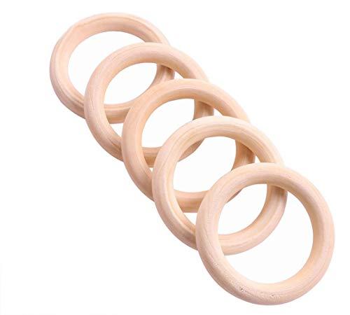 Outflower 5 Ringe aus Naturholz zum Basteln von Schmuck und Schlüsselringen, 100mm 55mm
