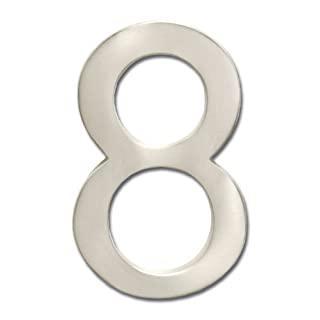 Architectural Mailboxes 3585SN-8 Brass 5-Inch Floating House Number 8, Satin Nickel