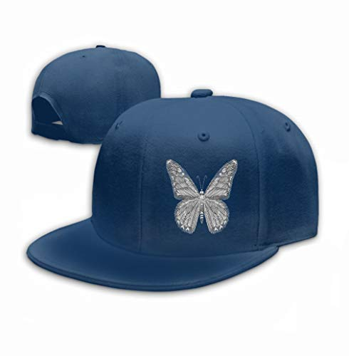 Xunulyn Unisex Baseball Caps Adjustable Plain Dad Hat Sun Cap White Butterfly Embroidery Black Background Ethnic n (Black N White Kostüme)