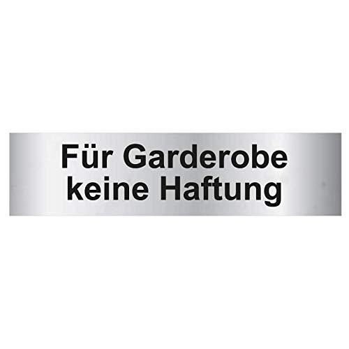 Kinekt3d Leitsysteme Türschild PVC Hinweisschild Für Garderobe Keine Haftung 160mm x 40mm Silber/Schwarz selbstklebend