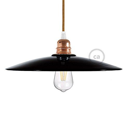 Abat-jour Plat en céramique pour suspension, émail noir intérieur cuivre, Made In Italy - Cuivre