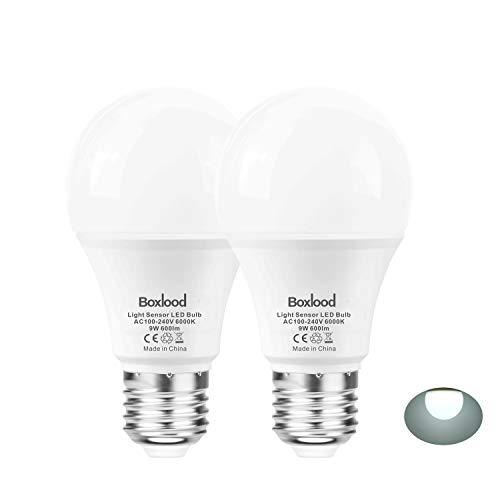 E27 Lichtsensor Lampe, 9-Watt, 600-Lumen (ersetzt 60W), Innen- / Außen-Auto Ein / Aus Sicherheitsbeleuchtung, 6000 Kelvin Kühles Weiß(2 Stück) von Boxlood