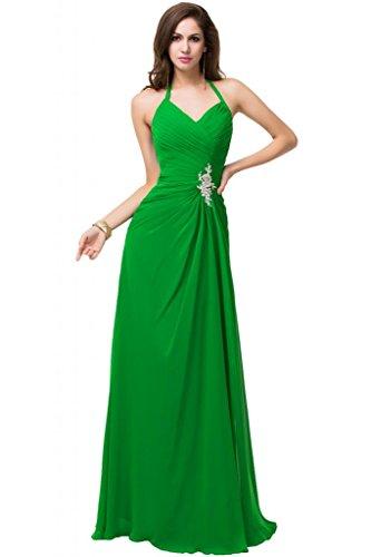 Sunvary, con allacciatura al collo, da donna, con custodia anteriore e laterali, in Chiffon Pageant sera, varie taglie Verde mela