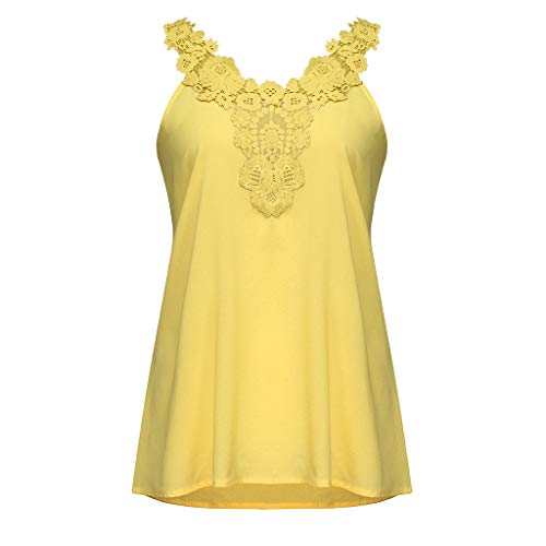 x Splice Manches Sling Loose Blouse Sans Casual Gilet Dentelle Top Large Lexupe Backless Femmes jaune Soild L5A4jR