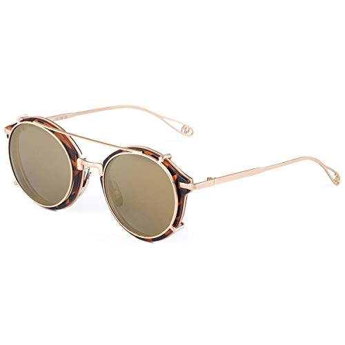 Polarised Sonnenbrillen Steampunk, Sonnenbrille Steampunk Style und runde verspiegelte Linse, ideal für Sport, Angeln und Fahren mit UV400-Schutz (Farbe : Brown Mirror Lens+Gold Frame)