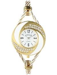 De YPS las nuevas mujeres de la manera del brazalete del reloj del cuarzo de Oro-Blanco WTH0051