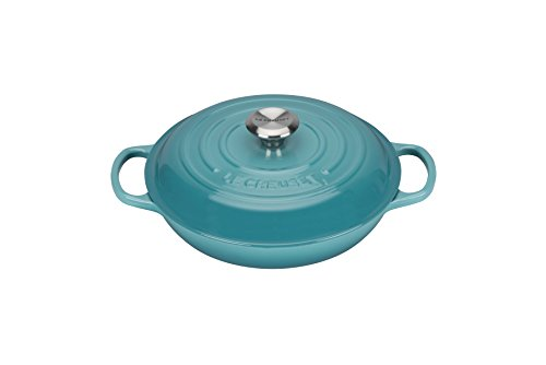 Le Creuset Evolution - Cocotte redonda baja, de hierro colado esmaltado, 26 cm, color azul caribe width=