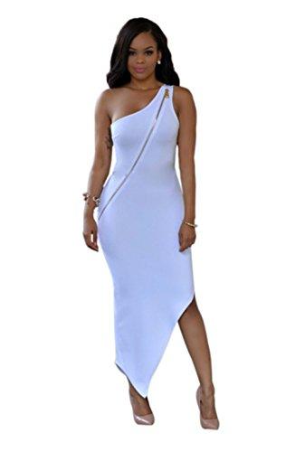 Blansdi Damen Mädchen Frauen Sommer beiläufig Sexy eine Schulter backless rückenfrei irregulär Kleid Minikleid Partei Cocktail Clubwear Weiß