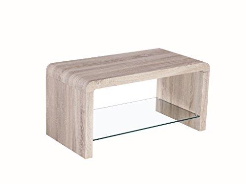 The One Malmo Table Basse en chêne avec étagère – Finition : Chêne Clair avec en Verre trempé – Meuble de Salon