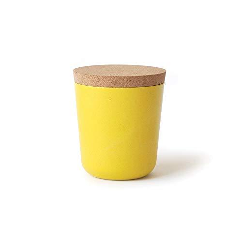 EKOBO Vorratsdose Gr. L, zur Aufbewahrung von Gewürzen, Kaffee, Tee und mehr, aus Bambus und Melamin mit Deckel aus Naturkork, Vol. 450 ml, Durchmesser 9,5 x Höhe 11 cm