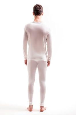 Jasmine Silk Men's Round Neck Pure Silk Thermal Long Sleeves Top Ivory