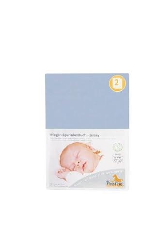 Pinolino 540004-2D Doppelpack - Spannbetttuch für Wiegen hellblau