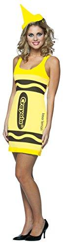 Crayola zeichnet Tank Dress - Adult Female Kostüm - Neon Gelb (Female Rasta Kostüm)