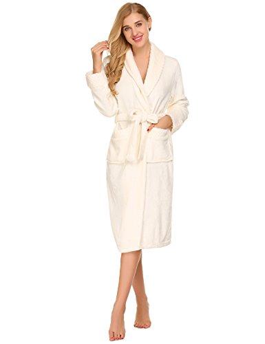 Leichte Bademantel Lang Kimono Unisex Spa Robe Nachtwäsche mit Taschen und Taillengürtel (L, 1-Weiß) (Robe Lange Spa)