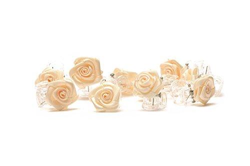 10 Pinzas para el cabello con rosas  Accesorios para el cabello de flores  flor Beige