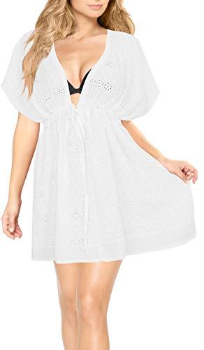 LA LEELA Kimono-Strand-Vertuschungen für Frauen Plus Size Weiß_Y457 DE Größe: 42 (L) - 52 (4XL) -