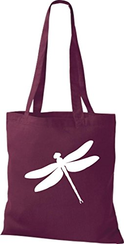 Stoffbeutel; Tiermotiv Libelle, Dragonfly, Insekt; Farbe Weinrot