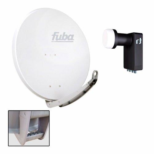 Antenne Fuba 74x84 cm Alu Weiß DAA 780 W + LNB Quad 0,2 dB Inverto Black Ultra