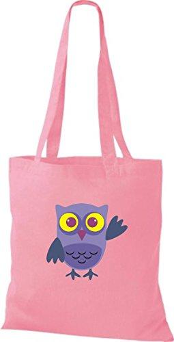 Tragetasche Karos Bunte Eule rosa Punkte Farbe Retro streifen diverse mit ShirtInStyle niedliche Owl Jute Stoffbeutel qp8xTU