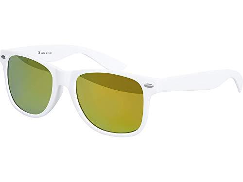 Balinco Hochwertige Nerd Sonnenbrille matte Rubber Retro Vintage Unisex Brille mit Federscharnier - 101 verschiedene Farben/Modelle wählbar (Weiß - Gelb)