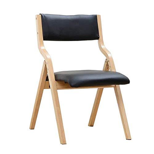 FENGFAN-Klappstuhl, massivholzrahmen pu Abdeckung gepolstert 480 lbs kapazität küche wohnmöbel aufnahmestuhl (Farbe : Schwarz)