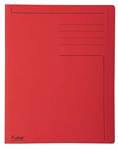 Exacompta 441003E Packung mit 100 Aktendeckel Forever (mit Beschriftungsfeld, aus Recycling Karton 280 g, DIN A4, 21 x 29,7 cm) rot