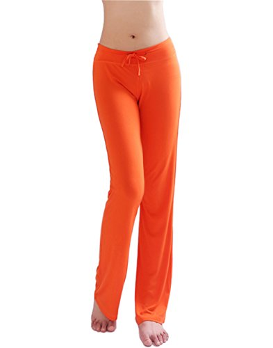 HOEREV Frauen Soft Modal Slimming Hose Yoga Hosen Pyjama-Hose, Orange, M