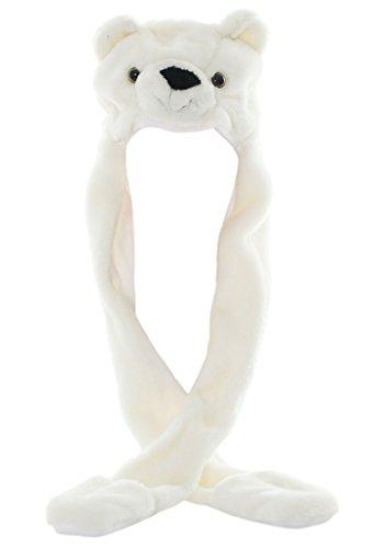 DELEY Unisex Plüsch Tier Hut Mit Langen Schal Handschuhe Ohrenschützer Halloween Weihnachten Winter Kappe Mütze Karneval Kostüme Weiß - Bär Hut Kostüm
