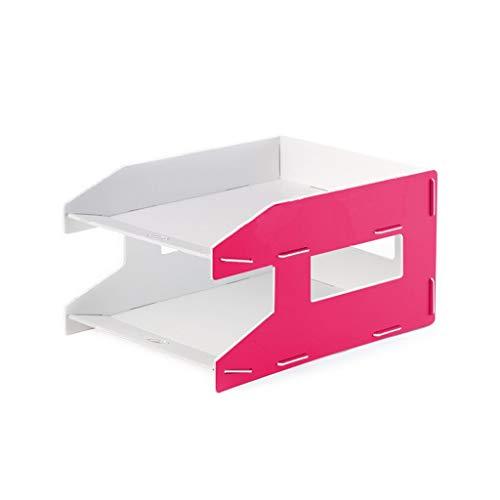Jinxin-Prodotti per ufficio Vassoi Porta Documenti Vassoio di File di Desktop di Office creativi Combinazione di Lettere Vassoio di Dati Vassoio di File 2 Strati (Color : Rose Red)
